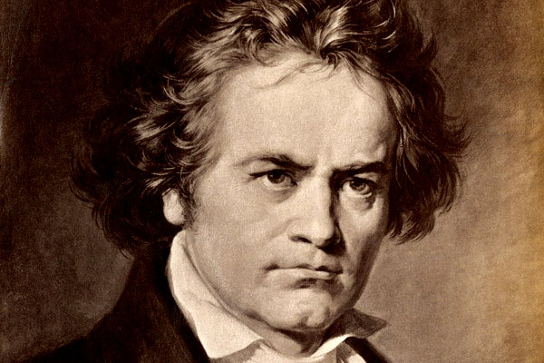 Ludwig van Beethoven. Antique photograph of a painting. (North Wind Picture Archives via AP Images)